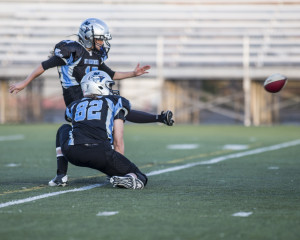 KIcker Julia Colangelo kicks a successful extra point for the Sharks